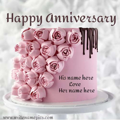 Write Name on Beautiful Pink Colored Rose Cake for Anniversary