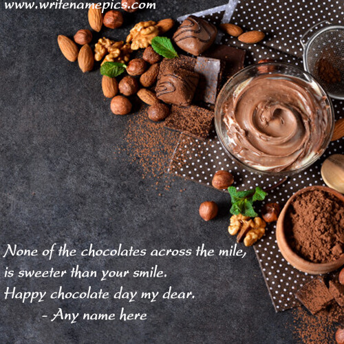 Write Name on Happy Chocolate Day Card pic