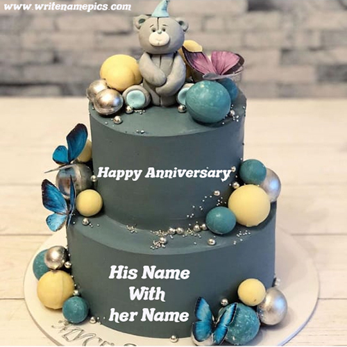 Write a name of couple on Anniversary Cake