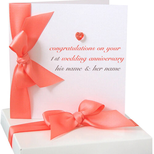 Write name on 1st wedding anniversary greeting cards m4hsunfo