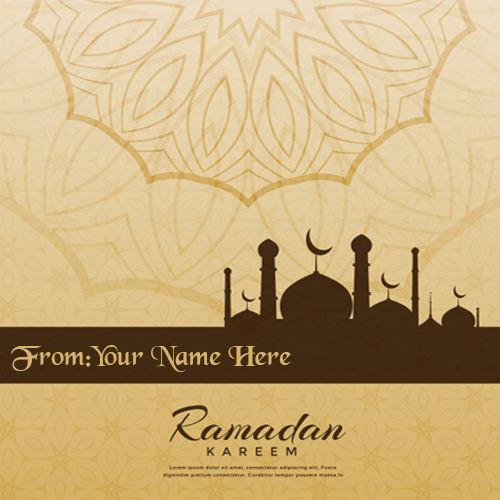 Write name on Happy ramadam Mubarak wishes 2018 card pic