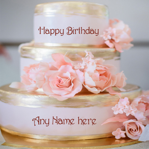 Write name on beautiful rose flowers luxury birthday cake pic