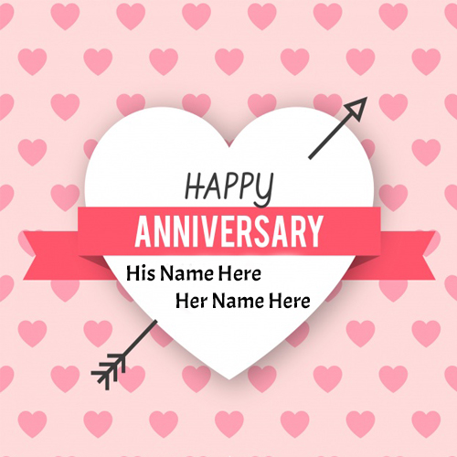 Write name on happy anniversary wishes for wife picture For Free