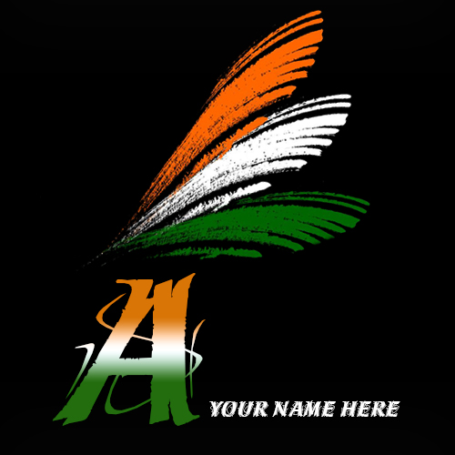 Write your name on A alphabet indian flag images