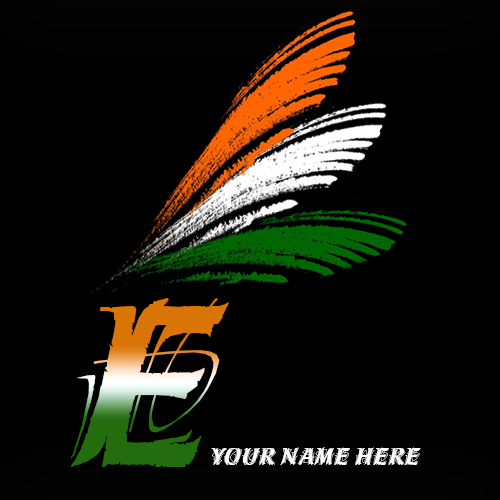 Write your name on E alphabet indian flag images