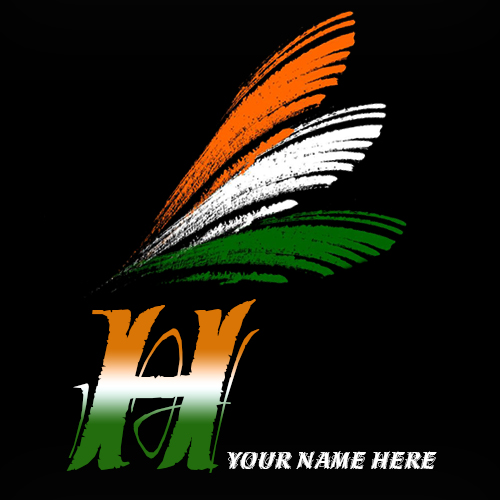 Write your name on H alphabet indian flag images