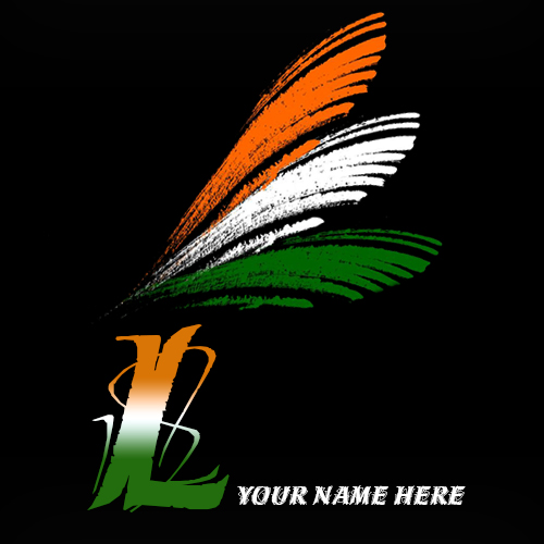 Write your name on L alphabet indian flag images