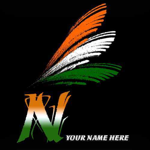 Write your name on N alphabet indian flag images