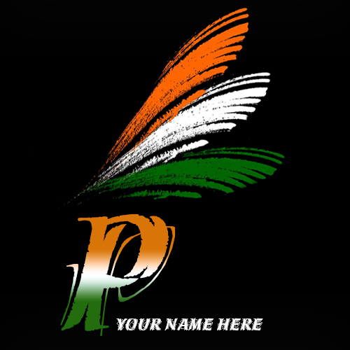Write your name on P alphabet indian flag images