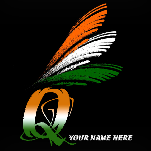 Write your name on Q alphabet indian flag images