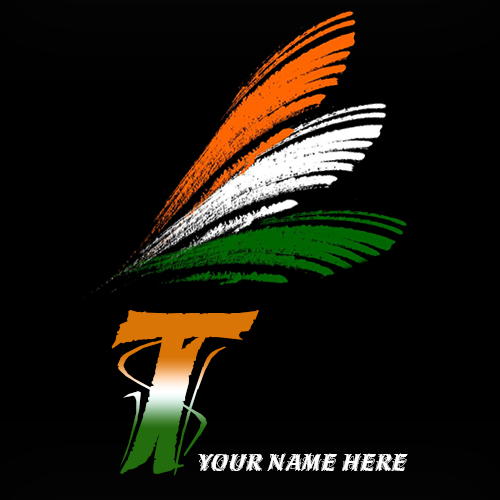 Write your name on T alphabet indian flag images