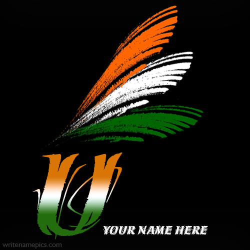 Write your name on U alphabet indian flag images