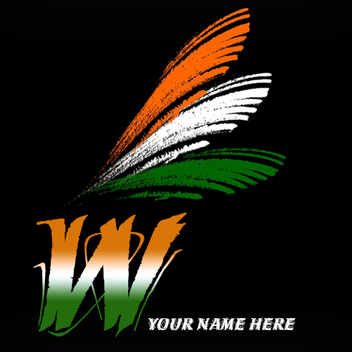 Write your name on W alphabet indian flag images