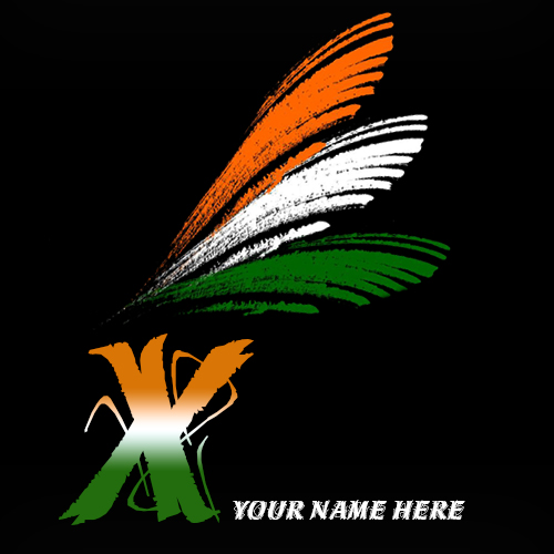 Write your name on X alphabet indian flag images