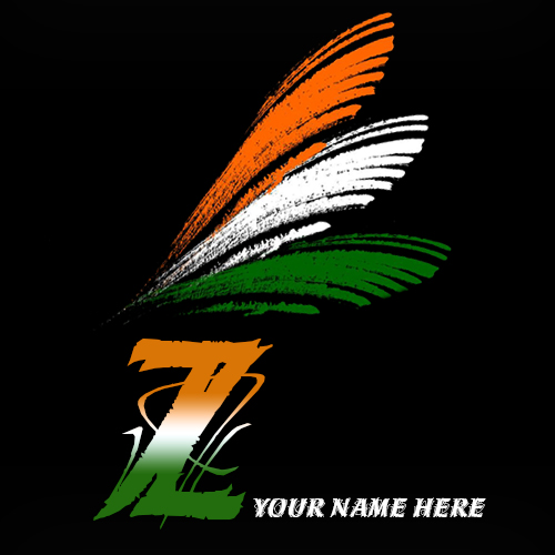Write your name on Z alphabet indian flag images