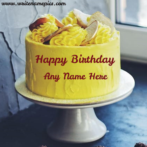 Yellow Happy Birthday Cake with Name Online Editor