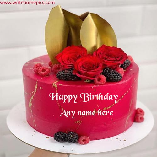 beautiful Roses and golden decoration cake with name