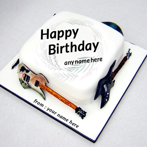 Brilliant Birthday Cake Guitar With Name Personalised Birthday Cards Akebfashionlily Jamesorg