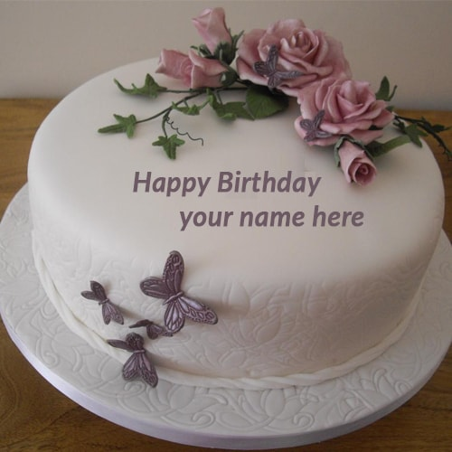 Butterfly Birthday Cake With Name Edit