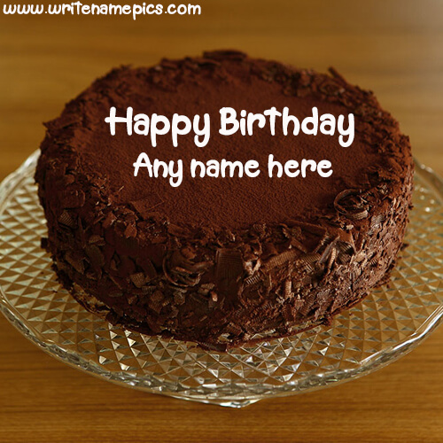 chocolate birthday cake with name and photo edit