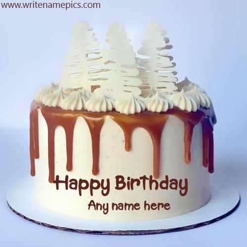 chocolate happy birthday cake with name pics