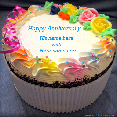 colorful wedding anniversary cake with name