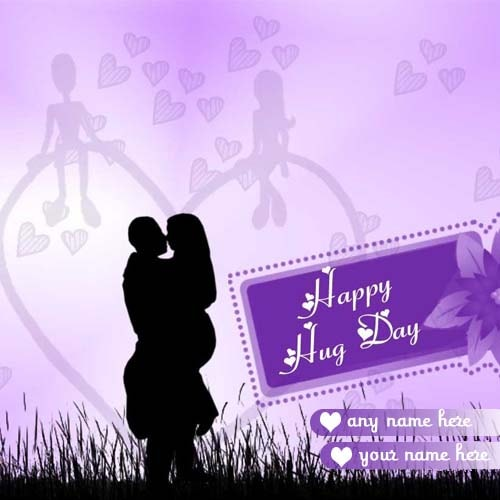 couple name on hug day wishes cards