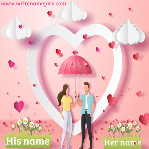 couple romantic love card with name