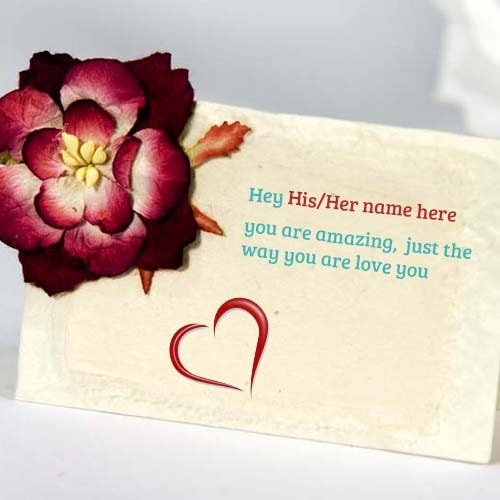 create love quotes card with name