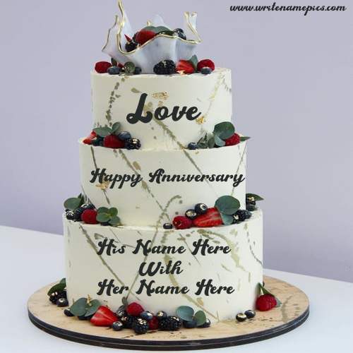 create online lovely Anniversary cake with couple Name