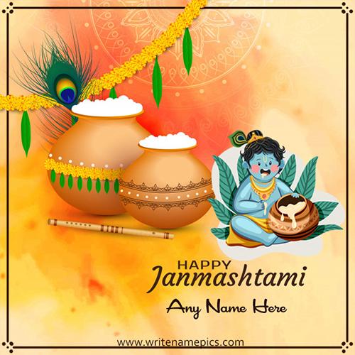 customized happy janmashtami wishes card free with name