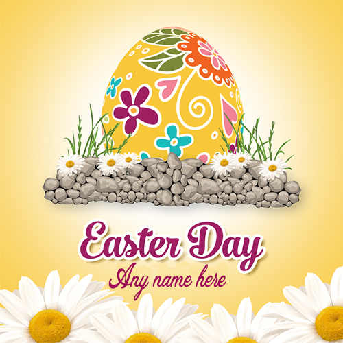 easter day wishes greeting card with name pic