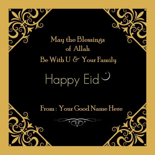 eid mubarak wishes to family and friend image with name edit