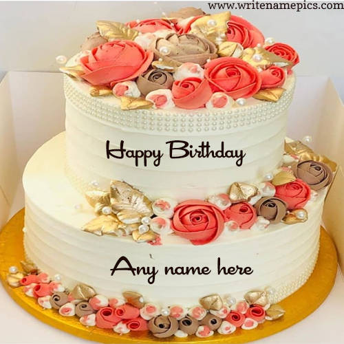 flower birthday cake with name edit