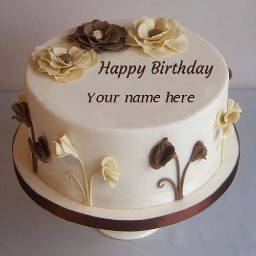 flower decorated happy birthday cake pics name edit