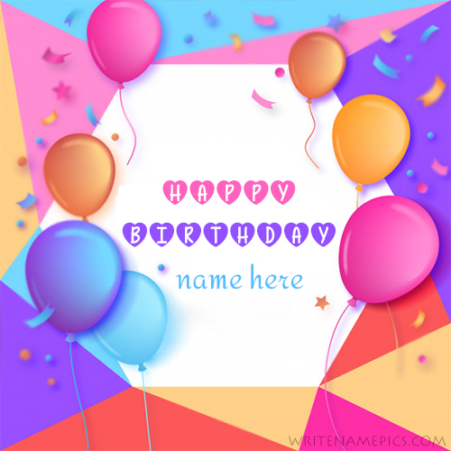 Beautiful Birthday Greeting Card With Cake Name And Photo Editor Free Cards Online Edit