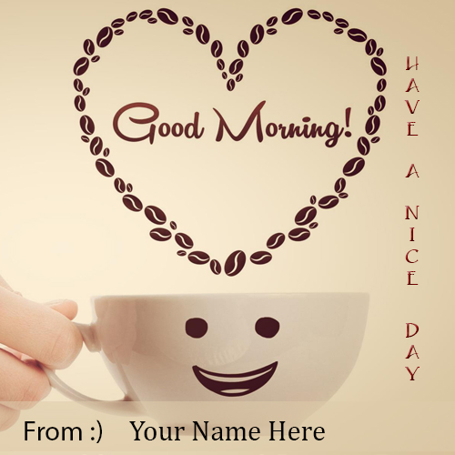 good morning wishes greeting card with smiley face and coffee cup