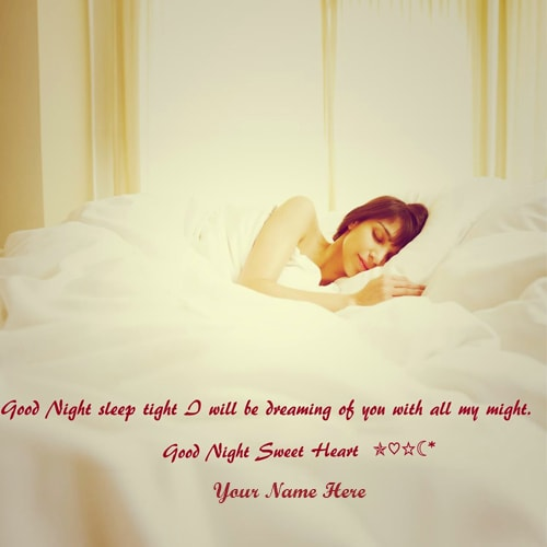 Good Night Greeting Card With Beautiful Girl Sleeping Images