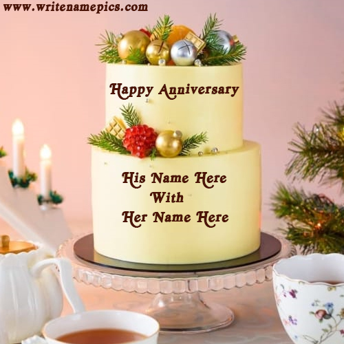 happy anniversary cake with name edit online