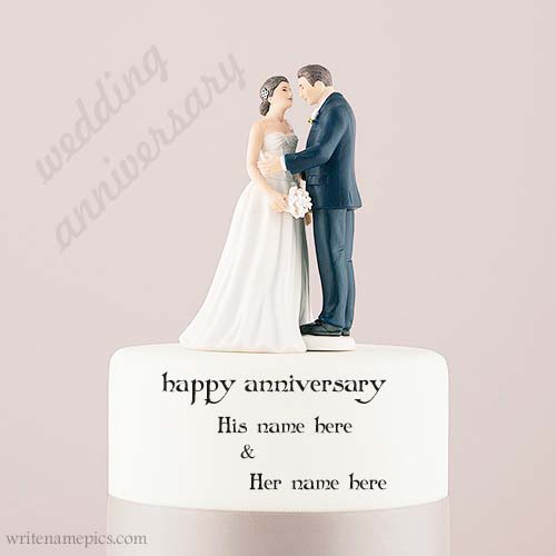 happy anniversary couple cake with name