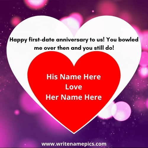 happy anniversary greeting card with name editor