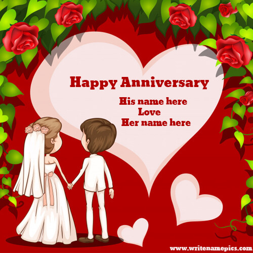happy anniversary greeting card with name