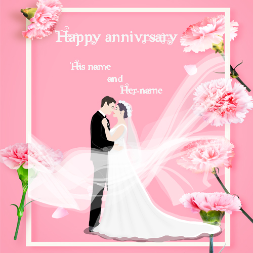 happy anniversary greetingcard with name pic