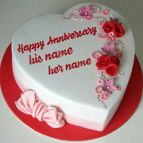 happy anniversary heart cake with name