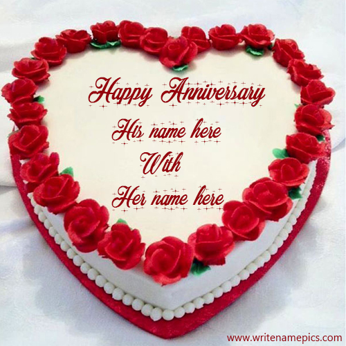 happy anniversary heart rose cake with name
