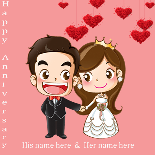 happy anniversary wishes couple card with name