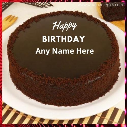 happy birthday cake with name chocolate