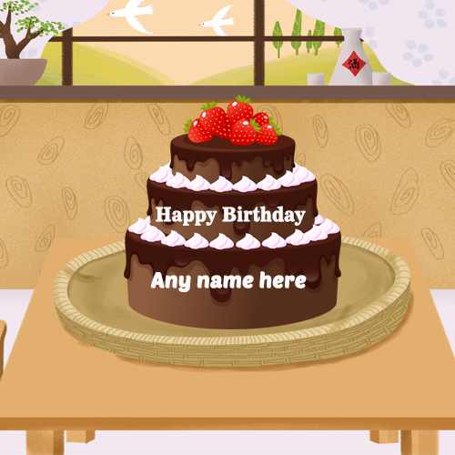 happy birthday chocolate cake with name edit online