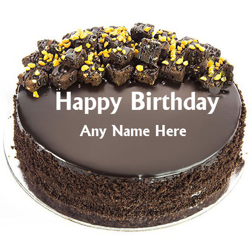Pleasing Happy Birthday Chocolate Cake With Name Edit Personalised Birthday Cards Epsylily Jamesorg