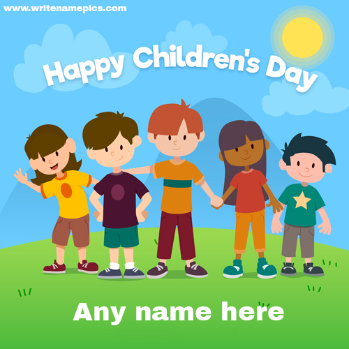 happy childrens day greeting card with name
